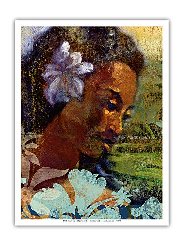Pacifica Island Art - Poema - Hawaiian Woman Portrait - Original Collage Art by Wade Koniakowsky - Master Art Print - 9in x 12in