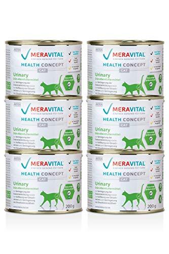 MERAVITAL Urinary Katzenfutter nass 6 x 200 g für Katzen zur Förderung der Wasseraufnahme und Spülung bei Harnwegserkrankungen