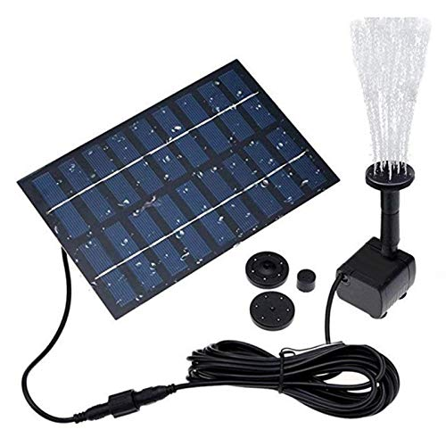 Bomba de água com fonte solar de 2,0 W ADJ para banho de pássaros, fontes alimentadas por energia solar, fonte de jardim para piscina pequena, pátio