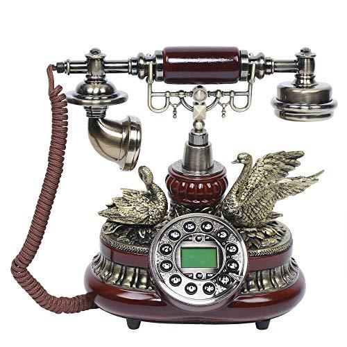 Teléfono fijo vintage con cable, estilo retro, hecho de madera de imitación de resina, 245 x 155 x 255 mm, color rojo