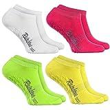 Rainbow Socks - Damen Herren Sneaker Antirutsch Socken ABS - 4 Paar Weiß Grün Rosa Gelb - Größen...