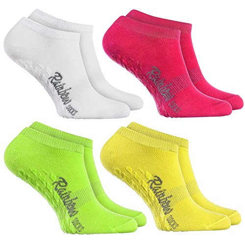 Rainbow Socks - Damen Herren Sneaker Antirutsch Socken ABS - 4 Paar Weiß Grün Rosa Gelb - Größen: EU 39-41