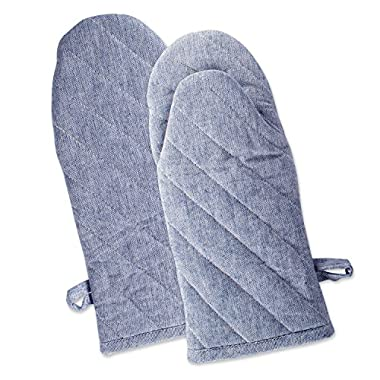 DII Cotton Chambray Oven Mitts, 13x6 Set of 2, Machine Washable and Heat Resistant for Kitchen Cooking and Baking-Blue