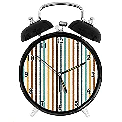 47BuyZHJX Decoration-Vertical Stripes Abstract Geometric Scribble Line Pattern Vintage Inspired,Retro Style 4 Twin Bell Alarm Clock with nightlight,On Bedside/Desk/Table for Home/Office