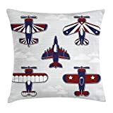 Ashasds America Inspired Toy Planes With Stripes And Stars Patriotic Illustration Red White Blue Cotoon Flax Throw Pillow Covers For Home Indoor Cushion Standard Size 16x16 In