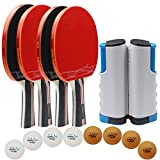MAPOL Premium Anywhere Portable Ping Pong Paddle Set,Quality Table Tennis Paddle Set,Included 4 Advanced Paddles,8 Pack 3-Star Balls,Retractable Net, Handy Storage Case