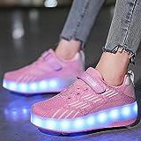 XRDSHY Zapatillas con Ruedas Niños Y Niña USB Recarga LED Luces Luminosas Zapatos con Ruedas Dobles Automática Calzado De Skateboarding Deportes De Exterior Gimnasia Zapatillas,pink-36