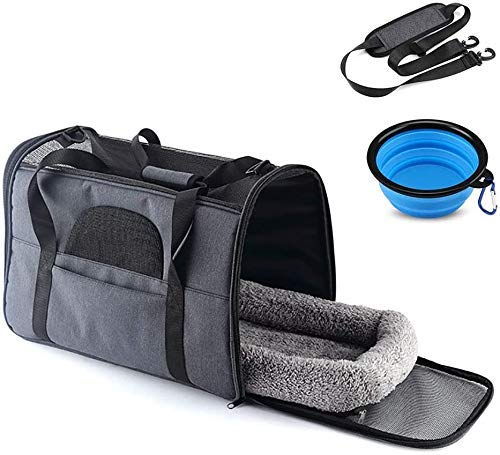 Dljyy Pet Carrier Bag, Portable Cat Carrier Bag Top Opening, With Removable Mat and Breathable Mesh, Foldable Transport Bag for Dogs and Cats, Shoulder Strap and Pet Bowl, Gray