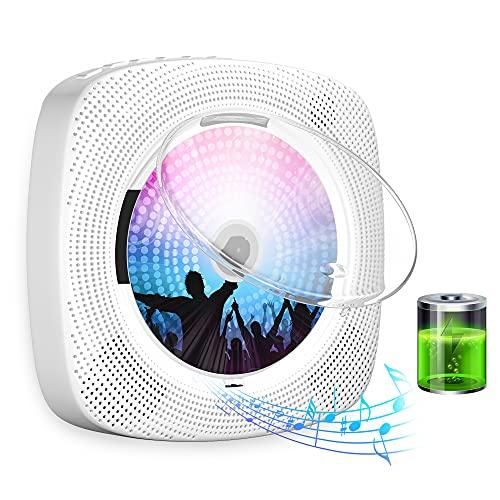 Gueray Reproductor de CD portátil con Bluetooth Batería Recargable de 4000mAh Cubierta Antipolvo Control Remoto Radio FM Auriculares Altavoces de Alta fidelidad Salida de Entrada USB AUX incorporada