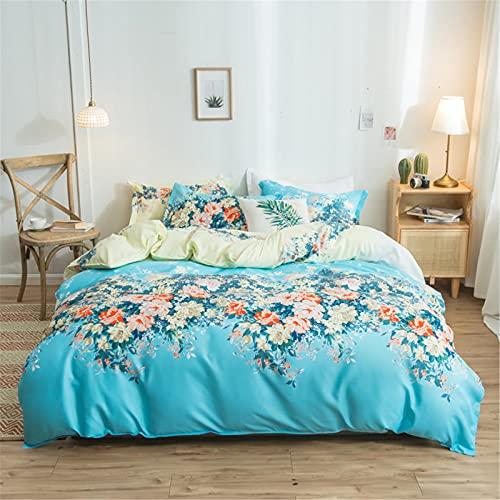YYSZM Textiles para El Hogar Funda Nórdica Ropa De Cama Patrón De Flores De Algodón Cómodo Y Agradable para La Piel Juego De 4 Piezas 150x200cm