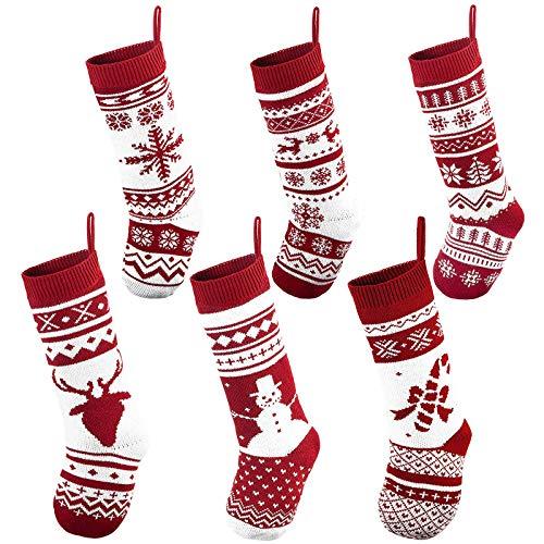 JOYIN 6 Pack 18' Knit Christmas Stockings, Large Rustic Yarn Xmas Stockings for Family Holiday Decorations
