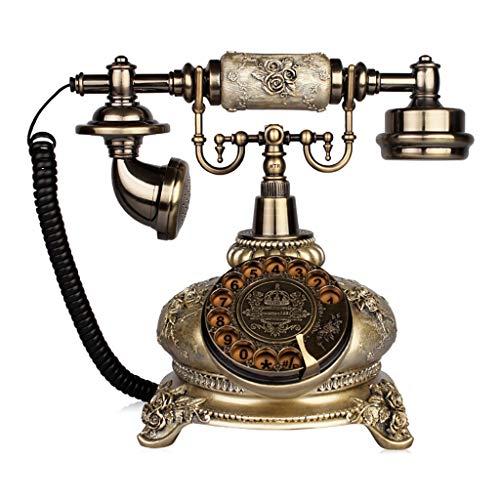 Cqq レトロな電話 電話、アンティーク電話、ロータリーダイヤル、ブルーバックライト、環境に優しい素材、古代シアン (色 : Rotary dialing)