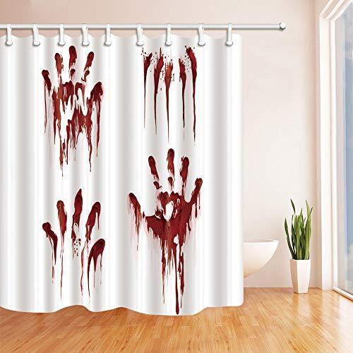 LRSJD Bloed Rode Palm Terror 71X71 inches Douchegordijnen Polyester Stof/Weefsel Badkamer Fantastische Decoraties Badgordijn