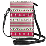 Jiger Women Small Cell Phone Purse Crossbody,Classical Reindeers Snowflakes Trees Christmas Pattern Needlework Design