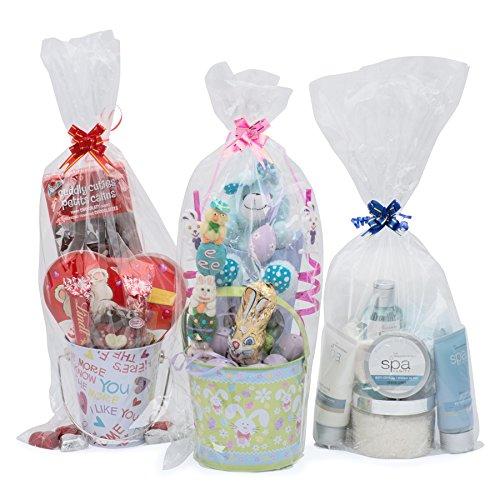 Life Solutions Products LSP – 12 bolsas de celofán para cesta de regalo – para embalaje de regalo y para hacer cestas – 9 pulgadas de ancho x 20 pulgadas de alto – incluye 12 pequeños lazos