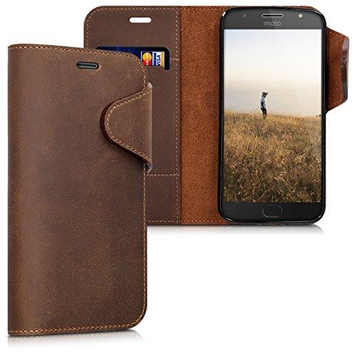 kalibri Motorola Moto G5S Plus Hülle - Leder Handyhülle für Motorola Moto G5S Plus - Braun - Handy Wallet Case Cover