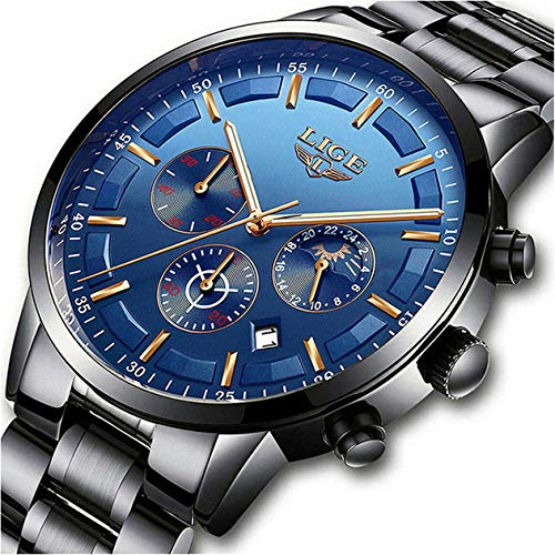 Herren Uhren Sport Wasserdicht Edelstahl Analog Quarz Uhr-Männer Marke LIGE Mode Chronograph Mond Phase Armbanduhr mit Schwarz Blau