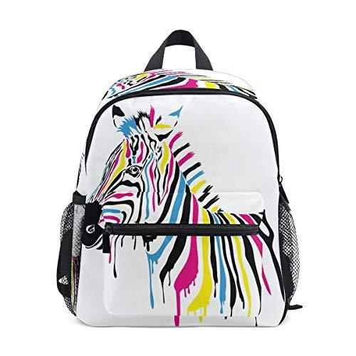 SunsetTrip Kinder-Rucksack, afrikanisches buntes Zebra-Gemälde, Kinder-Büchertasche mit Brustgurt, Kindergarten Vorschule Kleinkind Schultasche für Jungen Mädchen