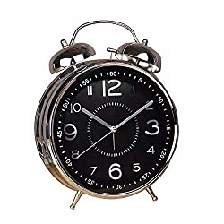 Qchengsan 4 Twin Bell Alarm Clock with Stereoscopic Dial, Vintage Classic Analog Clock with Backlight,Battery Operated Travel Clock,Simple Design Beside/Desk Alarm Clock (Black)