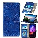 LMFULM® Hülle für HTC Desire 19 Plus (6,2 Zoll) PU Leder Magnet Brieftasche Lederhülle Retro Crazy Horse Muster Stent-Funktion Ledertasche Flip Cover für HTC 19 + Blau