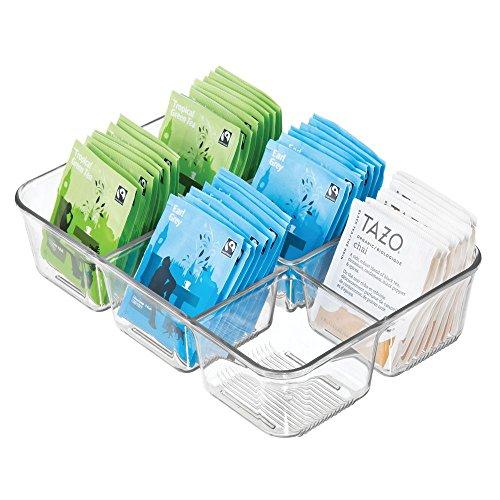 mDesign Küchenaufbewahrung aus Kunststoff – handliche Teebox für die Arbeitsfläche oder Schublade – vielseitige Lebensmittelaufbewahrung – durchsichtig