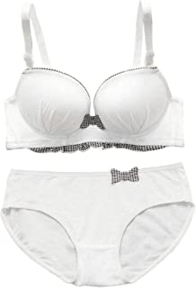 Womens Teen Girls Cotton Padded Plunge Push-Up Bra with Matching Hipster Panty Set