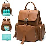 Diaper Bag Backpack by Mominside, Leather Backpack for Women, Travel Backpack Baby Bag with 15 Pockets, Changing Pad, Large Capacity for Wet Clothes, Breast Pump, Milk Bottle (Brown)