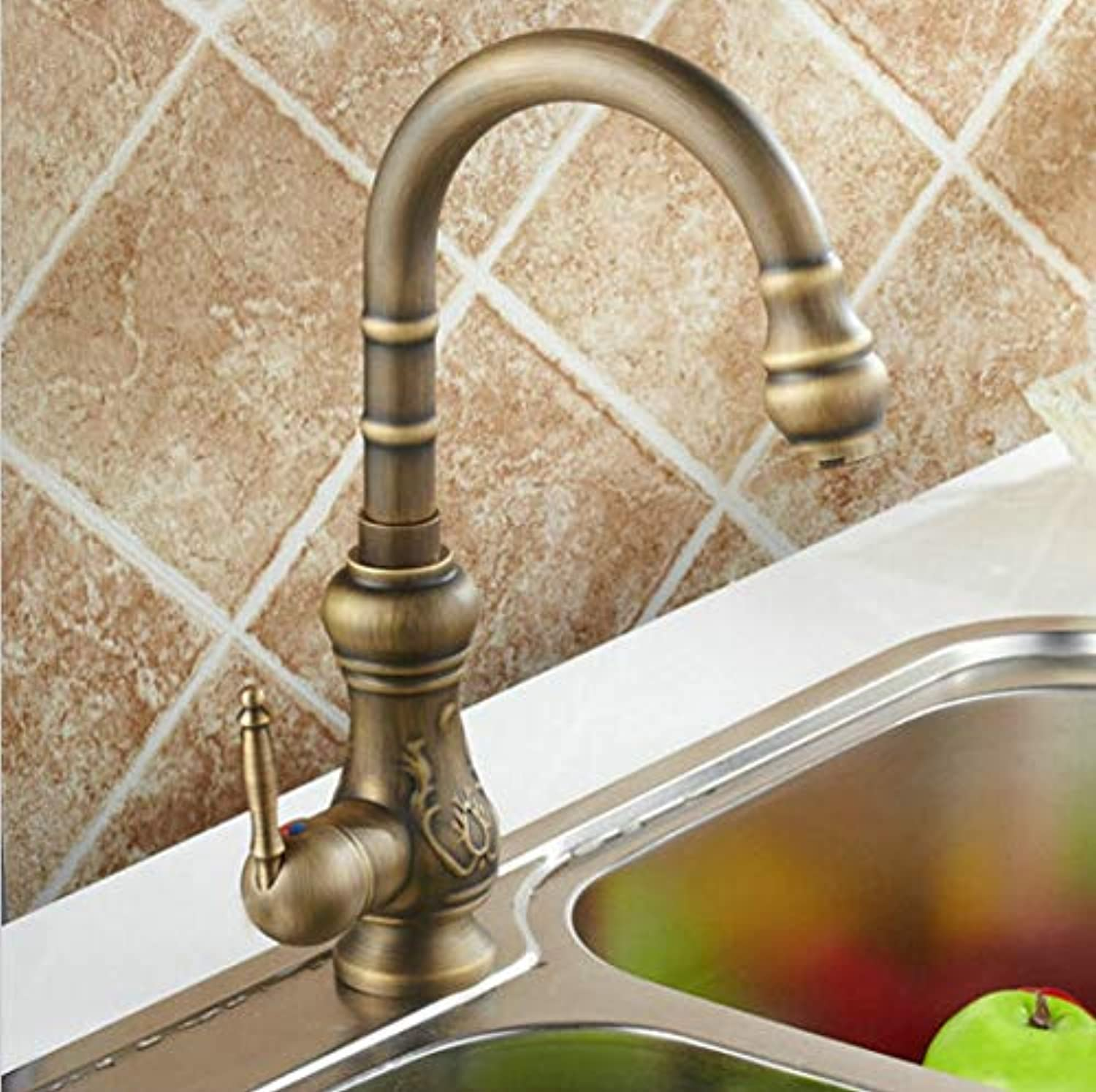 YUJING Kitchen Mixer Taps Antique Brass Finished Hot&Cold Mixer Taps Deck Mounted Carving Faucet