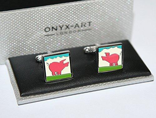 Onyx Art Herren-Manschettenknöpfe – Rosa Schwein auf quadratischem Manschettenknopf