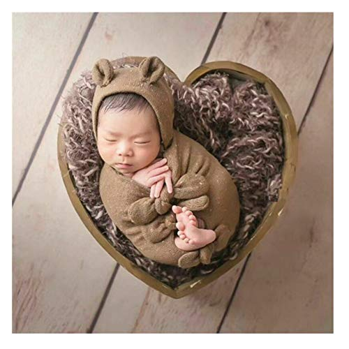 Newborn Props Photography Heart-Shaped Wooden Bowl Baby Photo Small Wooden Bed Posing Baby Photography Props Baby Boy Girl Picture Photo Shoot Studio Posing Love-Heart (Coffee, onesize)