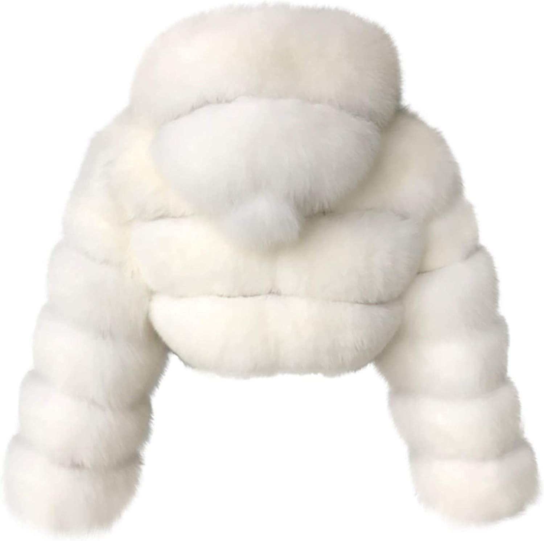 Auifor Damen Kurze Faux Pelz Mantel, Plain Kapuze warm Furry Splicing Jacke Langarm Outerwear(,) Weiß