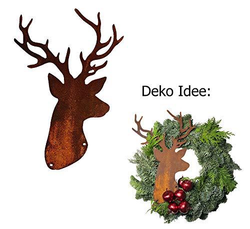 Dekofigur Hirschkopf, Hirsch Trophäe im Rost Design zum hängen, Adventskranz Deko, Rostfigur für den Garten