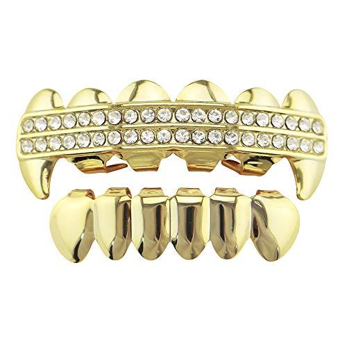 Set Top y Bottom Grill Juego de asador superior e inferior con forma de diente de diamante de imitación para barbacoas, extraíble, chapado en oro, hip hop, dientes, juego de parrilla Para cualquier oc