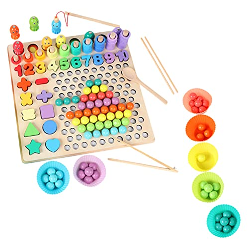 Balacoo Wooden Fishing Toy Puzzles Set Alphabet Numbers Beads Matching Game Jigsaw Kids Educational Preschool Cognitive Blocks for Boys Girls