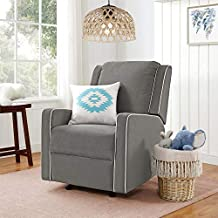 Baby Relax Paisley Rocker Chair, Pocket Coil Seating, Gray Linen Recliner