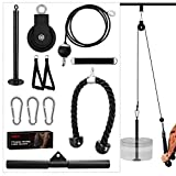 Kalkal Cable Pulley System, Upgraded 11 pcs Fitness LAT and Lift Pull Down Machine Attachments Home...