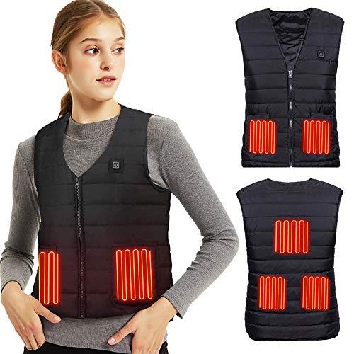 Lyeiaa Chaleco calefactable para hombre y mujer, chaqueta calefactable eléctrica con cargador USB, chaqueta de calor lavable con 3 temperaturas facultativas, para deportes al aire libre,