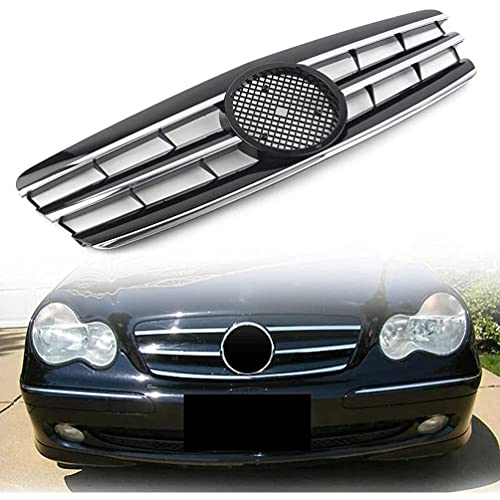 AMPTRV Replacement Car Rejillas Frontales radiador for Mercedes Benz C Class W203 C280 C320 C240 C200 C63 2000-2006,Central Sport Honeycomb Mesh Grill Styling Body Fittings Parts