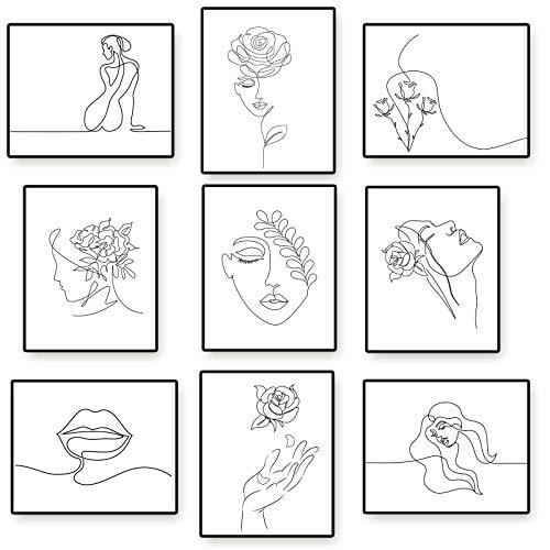 9 Pinturas de Arte de Pared Minimalistas Decoración Pared de Línea Mínima de Mujer sin Marco Póster Estético de Mujer Abstracta de 20 x 25 cm Impresión de Arte de Línea Moderna Femenina