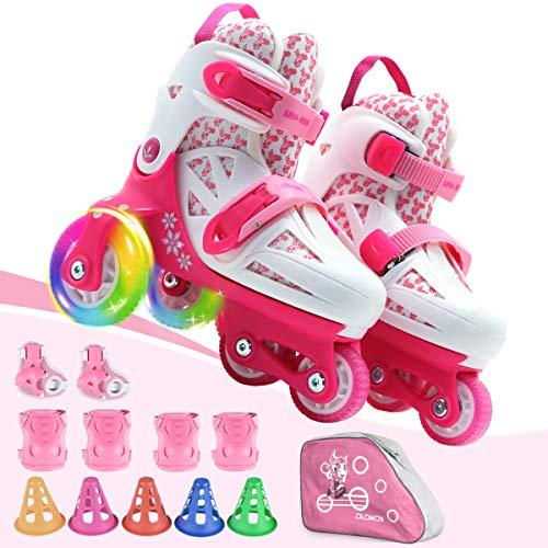 Patines de ruedas para niños, con tamaño ajustable, frenos dobles y ruedas luminosas y equipo protector, zapatos de equilibrio de 3 puntos para principiantes, para interiores y exteriores (rosa, XS)