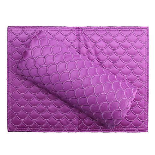 Poissons en satin motif main oreiller Nail Shop Home Manucure repose-main pliant main Pad antipoussière ne se fanent pas,purple