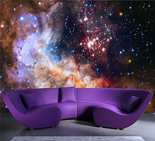 BHXIAOBAOZI Eigen 4D muurschildering groot wallpaper, prachtige Galaxy foto, moderne Hd zijde muurschildering poster afbeelding TV sofa achtergrond muur decoratie voor woonkamer 380cm(W)×240cm(H)|12.46×7.87 ft