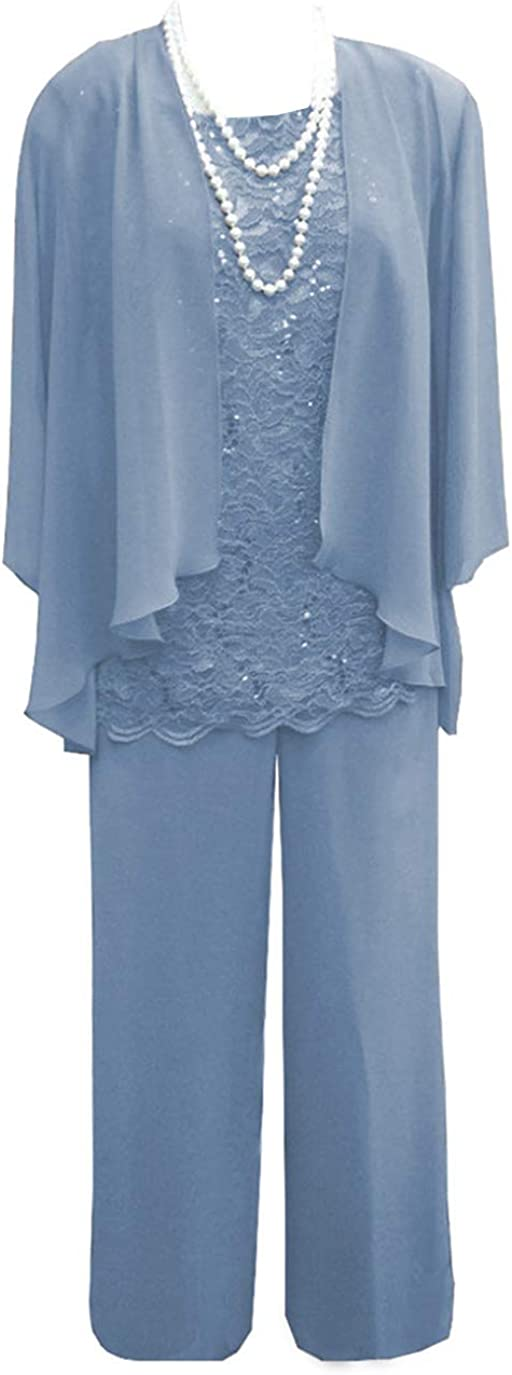 Mother of The Bride Dress Pant Suits Womens Chiffon Lace with Long Sleeves Outfit Jacket Plus Size