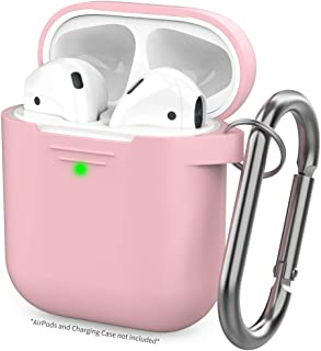 AhaStyle Upgrade Silicone Case Protective Cover [Front LED Visible] Compatible with Apple AirPods 2 & 1 Pink