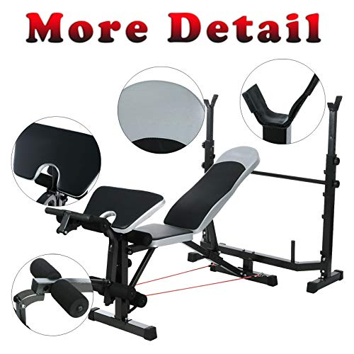 ncient 330lbs Olympic Weight Bench Multi-Function Adjustable Weight Bench with Preacher Curl Leg Developer Lifting Press Exercise Equipment for Indoor Full-Body Workout