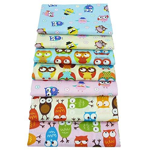 7 Stücke Fat Quarters Quilten Stoff Bundles, 46x56 cm Top Cartoon Eulen bedruckte Baumwolle Nähen Stoff zum Quilten Crafting, 18