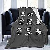 Cómodo y Suave Sherpa Plus Velvet Throw Wrap Cloak para sofá Sofá Invierno Otoño Lindo Panda Set Queen Size School Manta usable150 x 200CM
