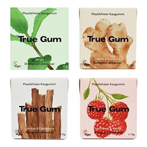 True Gum Probierset 4 Sorten | Plastikfreier Kaugummi | Biologisch Abbaubar | Vegan | 21 g (1x pro Sorte: Ingwer & Kurkuma, Minze, Lakritze & Eukalyptus, Himbeere & Vanille), 84 g