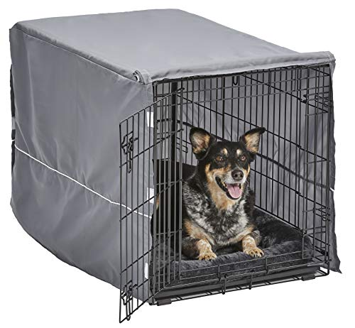 New World Double Door Dog Crate Kit   Dog Crate Kit Includes One Two-Door Dog Crate, Matching Gray Dog Bed & Gray Dog Crate Cover, 36-Inch Kit Ideal for Medium Dog Breeds