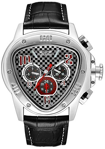Gosasa Men's Oversized Unique Style Triangle Dial Automatic Mechanical Leather Band Watch (Black)